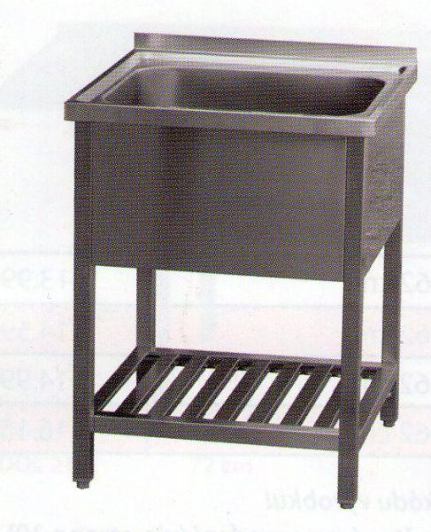 Nerezový dřez - mycí stůl s roštovou policí 700x700x900mm dřez 600x500mm - DOPRAVA ZDARMA