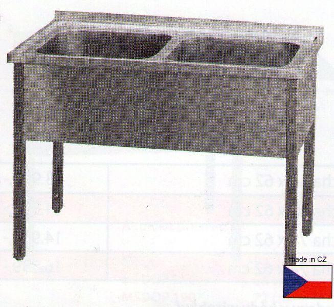Nerezový dvoudřez - mycí stůl s plnou policí 1400x700x900mm - DOPRAVA ZDARMA