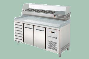 Chlazený pizza stůl dvoudvéřový + 7 zásuvek s nástavbou RTP-2D+7ZN - DÁREK + DOPRAVA ZDARMA