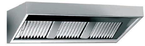 Nástěnný odsavač par - digestoř 2200x900x450mm - bez motoru