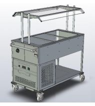 Chladící vozík/vana pro 3x GN 1/1 s hygienickým zákrytem - DOPRAVA ZDARMA